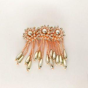Vintage Pink Dangle Pearl Gold Hair Barrette Clip